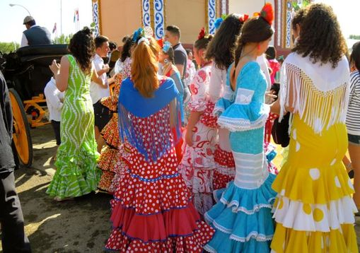 Karen McCann, Feria de Abril, Seville Spain, eye-popping dresses
