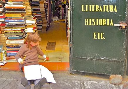 Book store, Books, Seville, Spain, Child Writing