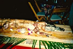 Karen McCann alligator served at party