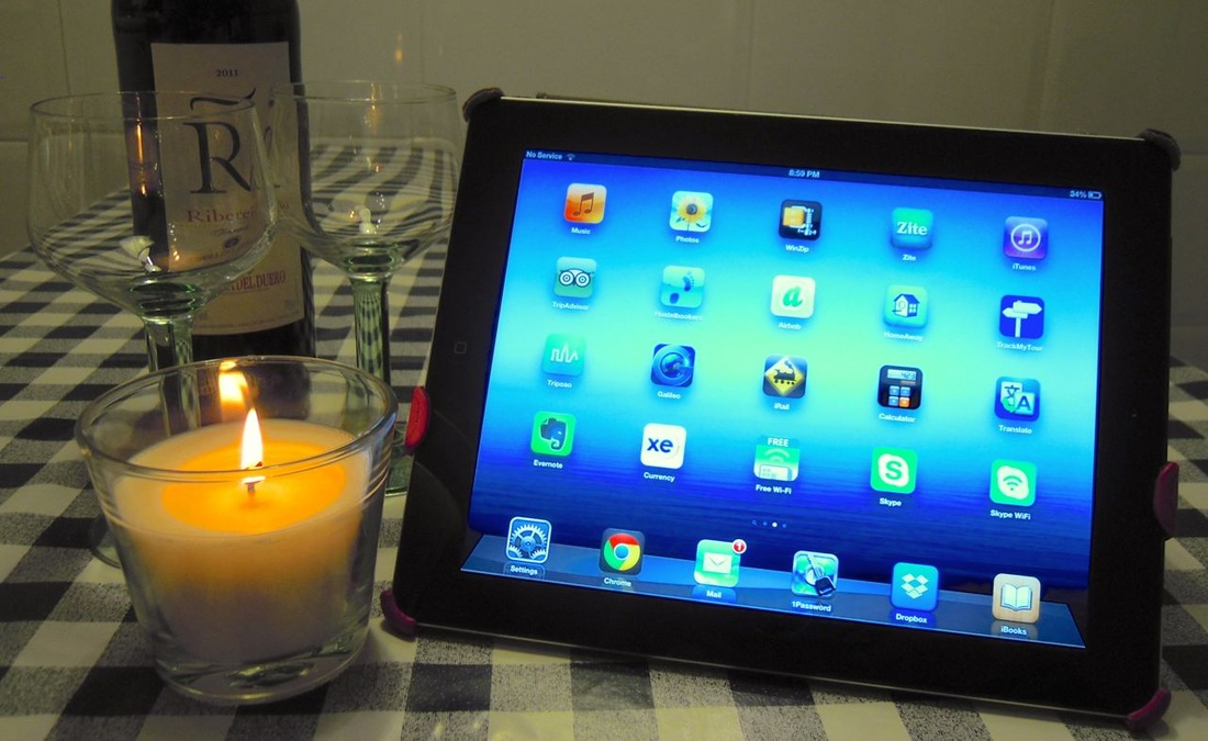 iPad apps with wine & candle