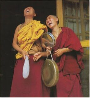 Laughing monks / #VirtualTaxMarch / Karen McCann / EnjoyLivingAbroad.com