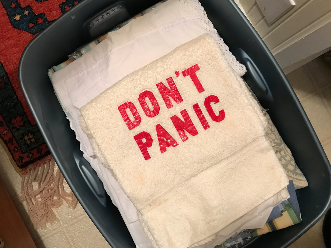 Don't Panic Towel / Harrowing Pandemic Trip from Seville to SF / Karen McCann / EnjoyLivingAbroad.com