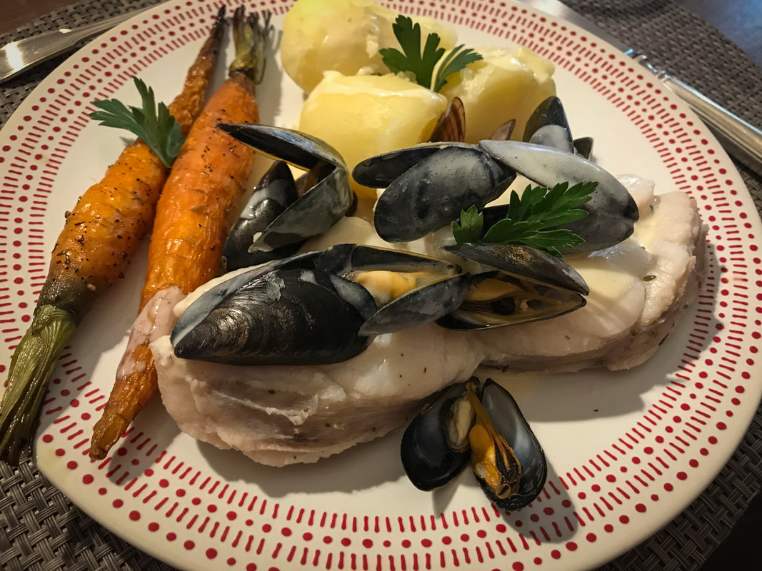 Blanquette de Lotte, anglerfish with mussels / French Alpine Cuisine / Karen McCann / EnjoyLivingAbroad.com