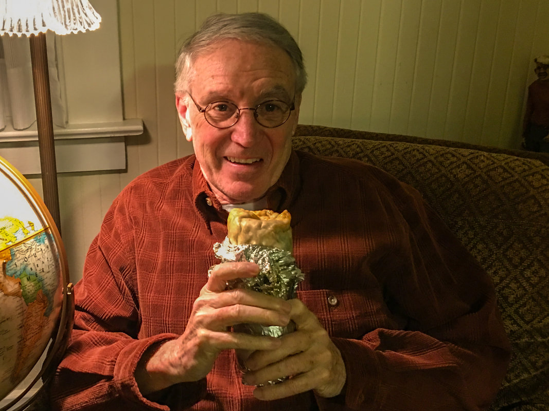 Rich McCann enjoying burrito / re-entry & recombobulation / Karen McCann / enjoylivingabroad.com