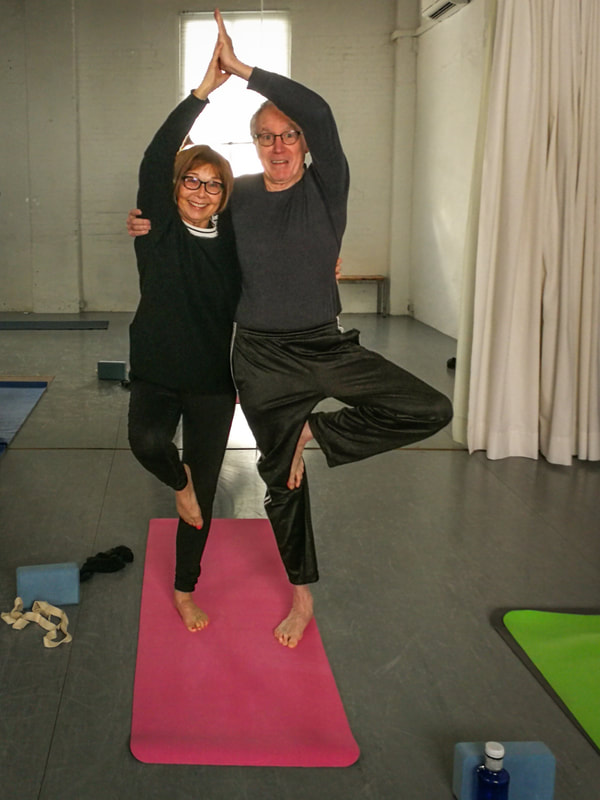 Karen & Rich McCann double tree pose / Yoga for Travelers, Revisited / Karen McCann / EnjoyLivingAbroad.com